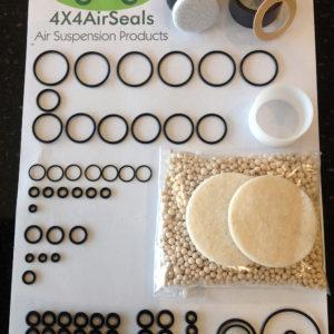 Range Rover P38 – Air Suspension Compressor Piston Seal + Valve Block Solenoid 'O' Ring + Diaphragm Seal + Air Dryer Repair Kit